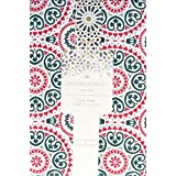 Cynthia Rowley Easy Care Fabric Holiday Tablecloth Christmas Circle Round Medallion Pattern Red Green on White, 60 Inches by 104 Inches