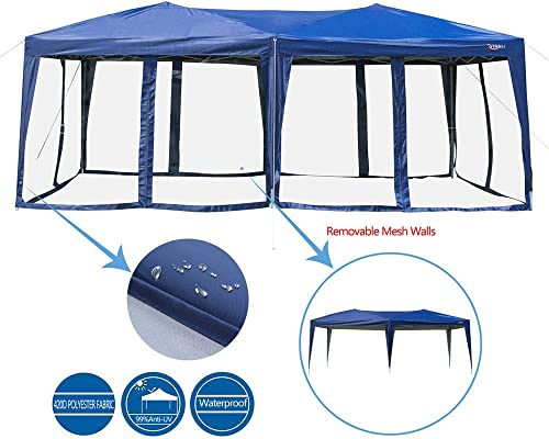 VINGLI EZ POP UP 10 x20 Outdoor Canopy Tent Removable Mesh Sidewalls Portable Rolling Carrying Bag, for Camping Travel Patio Gazebo, Sun Water Resistant