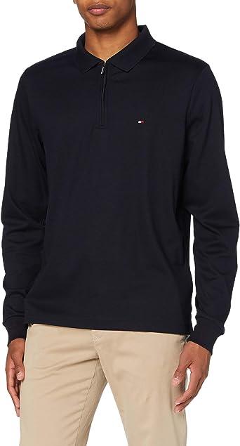 Tommy Hilfiger Zip Interlock Slim LS Polo Camisa para Hombre