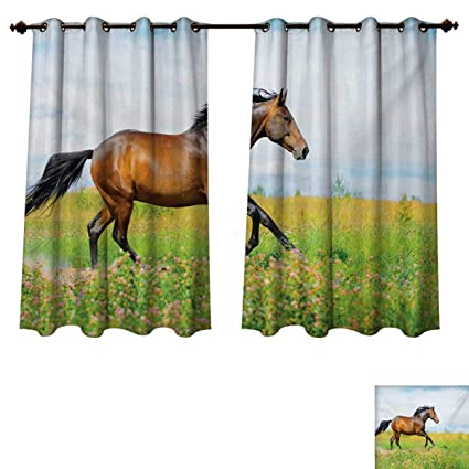 RuppertTextile Equestrian Blackout Curtains Panels For Bedroom Horse Runs  Gallop On Flower Meadow Rural Freedom Animal