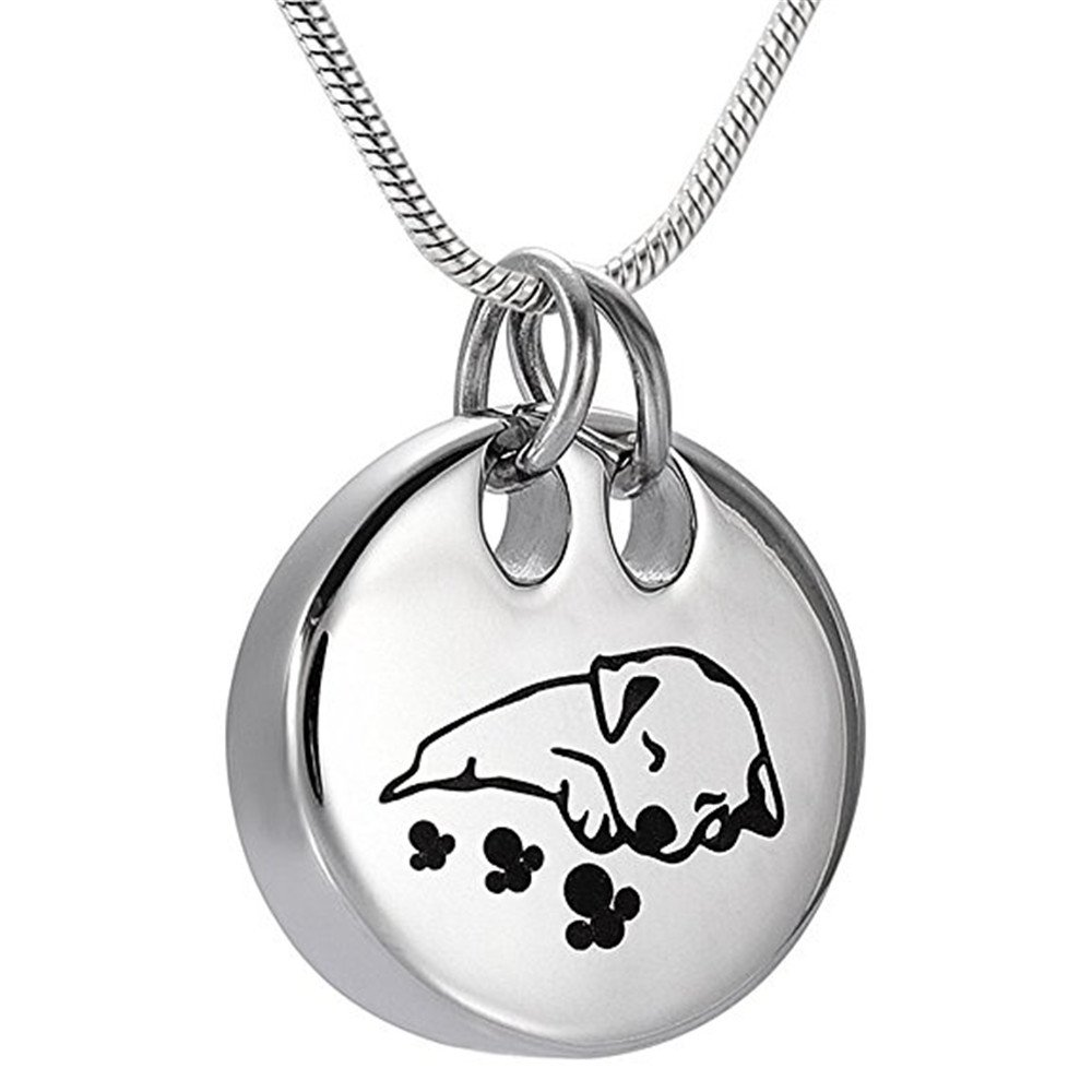 Pet Memorial Jewelry Cremation Urn Necklace -Sleeping Dog Keepsake Pendant Jewelry For Ashes by EternityMemory (Image #1)