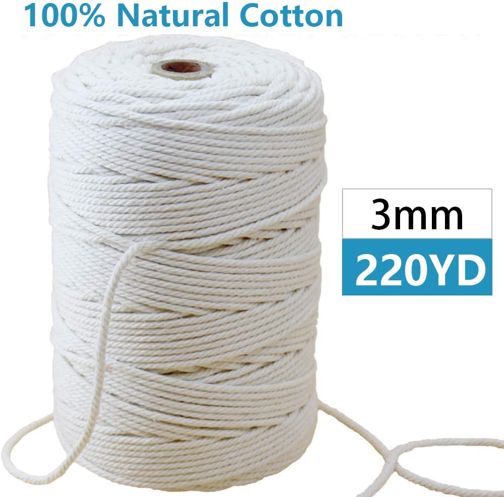 Black Plant Hangers Decorative Projects Soft Undyed Crafts Macrame cotton Cord 220 yd 100/% Natural Macrame Rope 4 Strand Twisted Cords for Wall Hanging Knitting