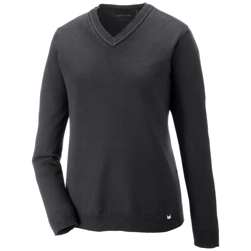 Ash City Ladies Merton V-Neck Sweater (Medium, Heather Charcoal/Black) by Ash City Apparel