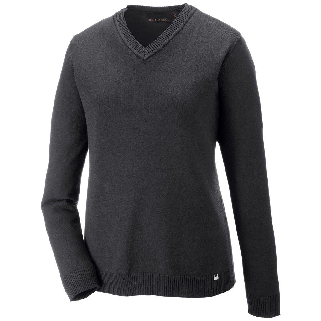 Ash City Ladies Merton V-Neck Sweater (Large, Heather Charcoal/Black) by Ash City Apparel