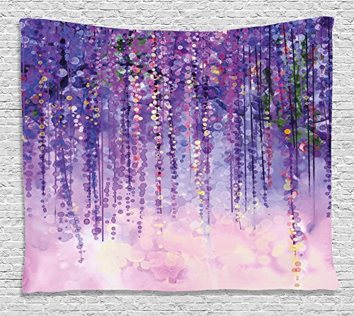 Home Accents Floral Tapestry - Ambesonne Watercolor Flower Home Decor Tapestry by, Floral Ivy Blossoms from Tree Foggy Vibrant Murky Habitat Artwork, Wall Hanging for Bedroom Living Room Dorm, 80WX60L Inches, Purple