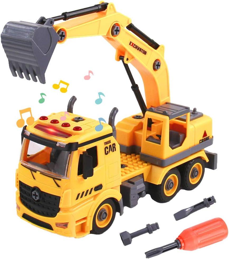 TONZE Camiones Excavadora Juguetes Niños 3 4 5 6 Años-DIY 2 en 1 Coches de Juguetes Construccion Excavadora con Luces y Sonido Juegos Educativos