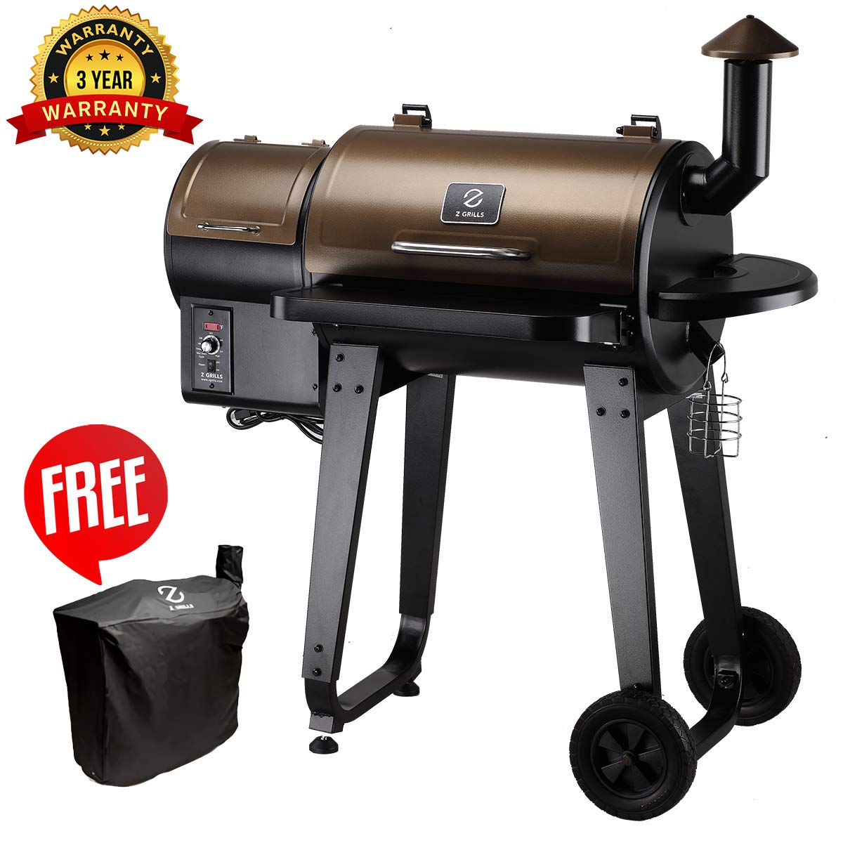 Z GRILLS Wood Pellet Grill & Smoker with Digital Temperature Controls, 450 sq. in. Cooking Capacity - Grill, Smoke, Bake, Sear, Roast, Braise and BBQ by Z GRILLS