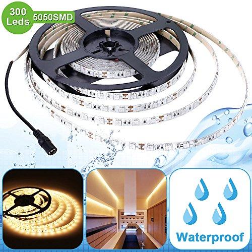 Lighting EVER Lampux 12V Flexible Waterproof LED Strip Lights, 3000K Warm White, 300 Units 5050 LEDs, 218lm/ft, Light Strips, Pack of 5M
