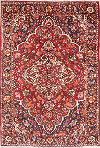 7 x 10 Bakhtiari Persian Floral Wool Area Rug Hand-Knotted Oriental Red Carpet Bakhtiari Hand Knotted Rug