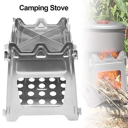 Wrighteu Estufa de Hornillo de Leña Camping Portátil Ligero de Titanio Acero Inoxidable Plegable al Aire