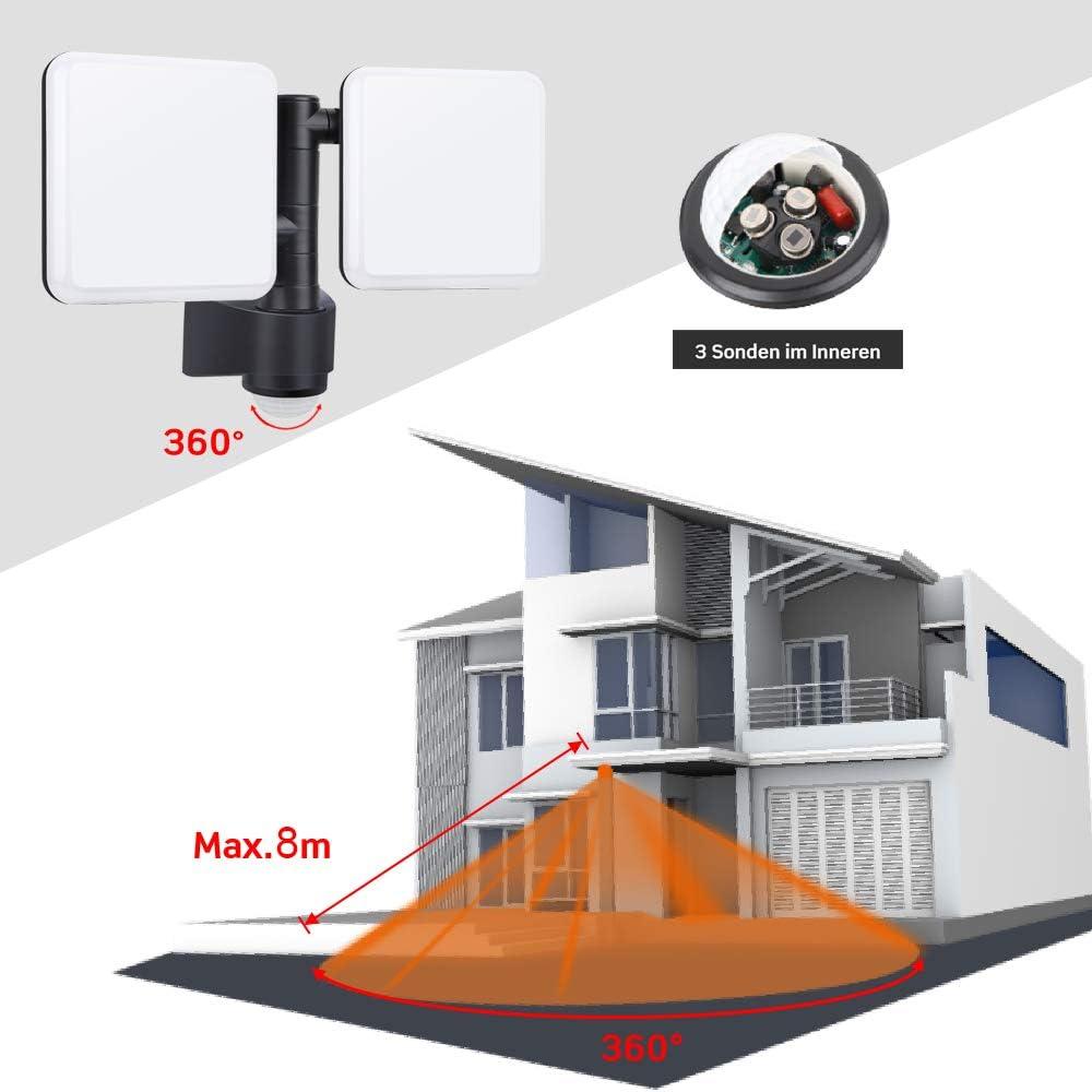 /Éclairage de s/écurit/é LED /à double t/ête r/églable avec capteur de mouvement , 20W 1600lm , Projecteur mural ext/érieur /à double t/ête , Lampe murale IP54 pour all/ée de terrasse de jardin gara