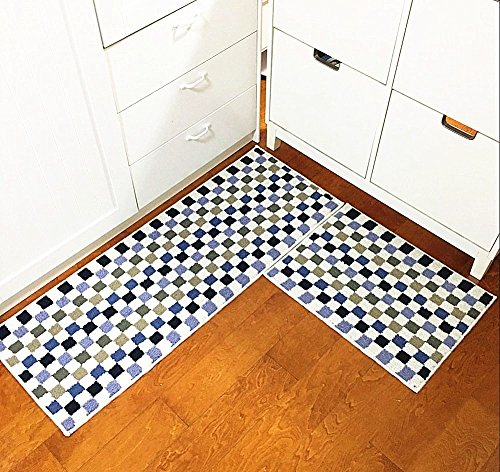 Eanpet Kitchen Rugs Sets 2 Piece Kitchen Floor Mats Non-Slip Rubber Backing Area rugs for kids Carpet Runner Rug Non-skid Kitchen Door Mats Inside Rug Pad Sets- 18