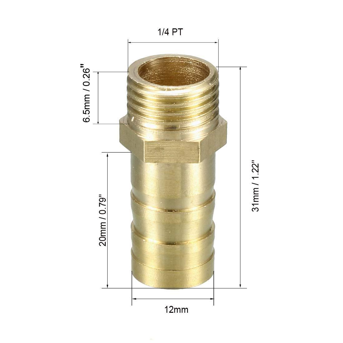 sourcing map Adaptateur laiton raccord tuyau barbel/é 8mm Barbelure x 1//8 PT M/âle Tuyau 5Pcs
