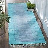 Safavieh Montauk Collection MTK718C Handmade Flatweave Turquoise Cotton Runner (2'3'' x 7')