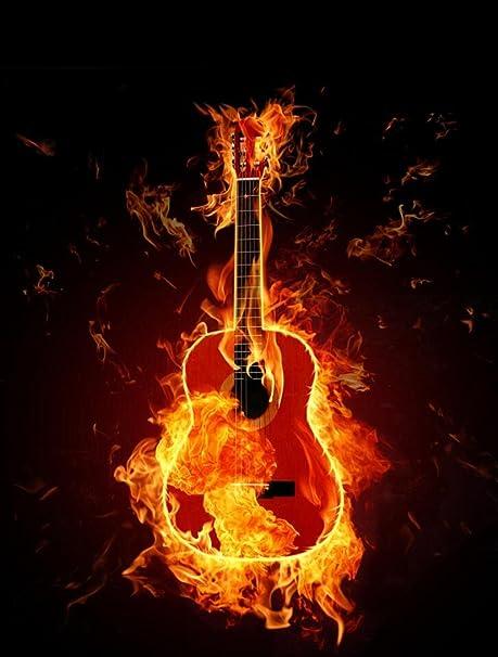 Arte Guitarra en fuego llamas sobre fondo negro de grabación de fotografía telón de fondo para