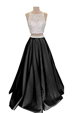 VinBridal 2018 Two Piece Long Beaded Satin Prom Dresses for Juniors Black 2
