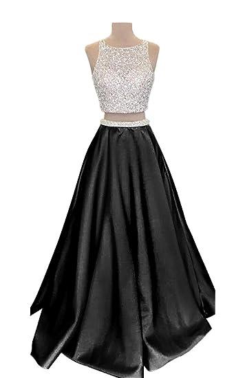 Vinbridal 2018 Two Piece Long Beaded Satin Prom Dresses Juniors At
