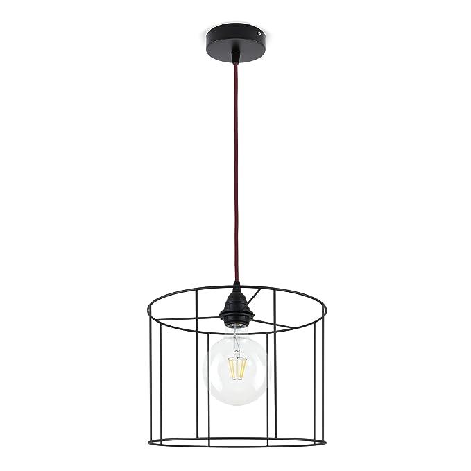 Lámpara de techo, con pantalla cilíndrica con bastidor de ...