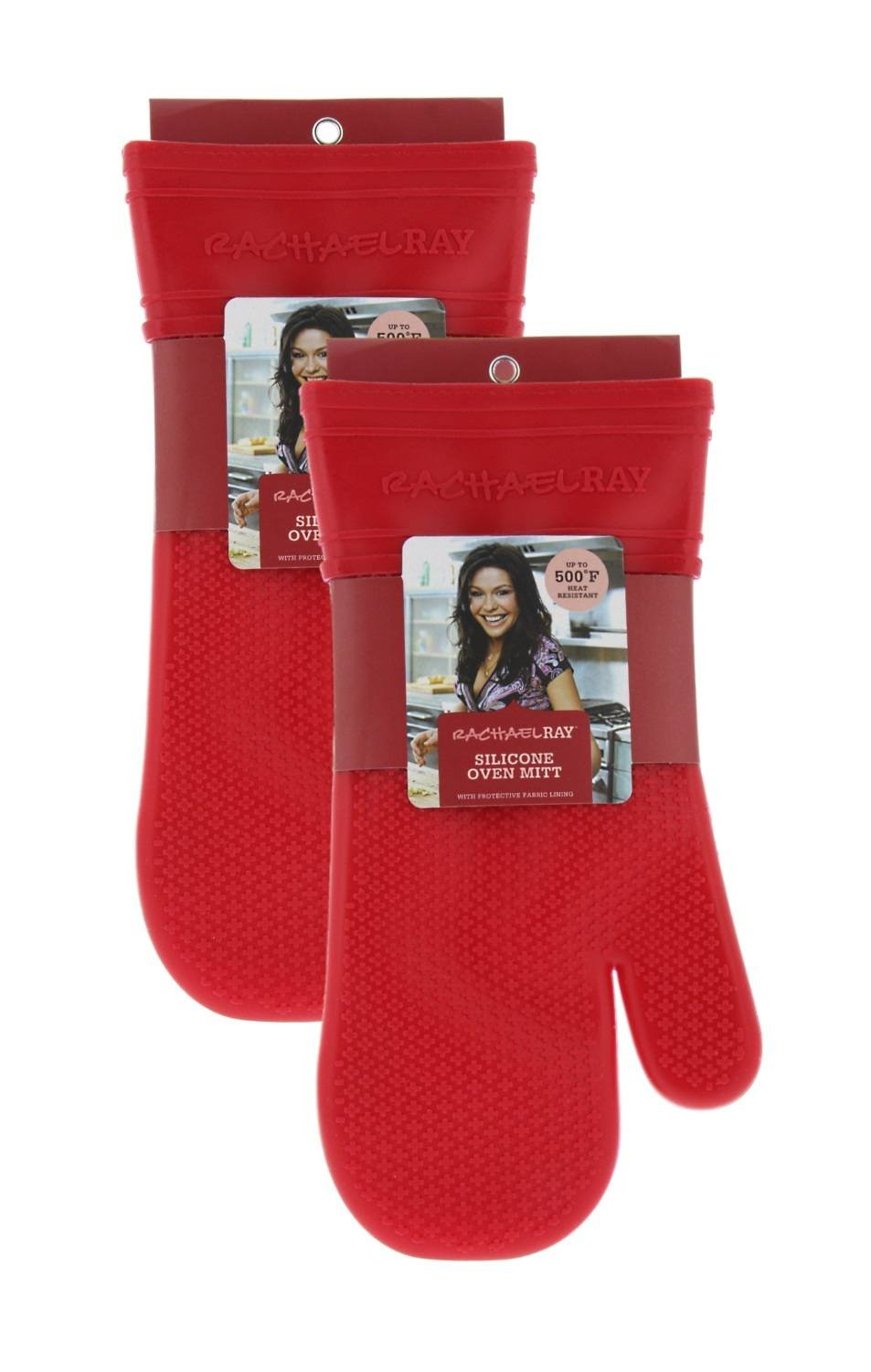 Rachael Ray Silicone Kitchen Oven Mitt with Quilted Cotton Liner, Cherry Red 2pk by Rachael Ray