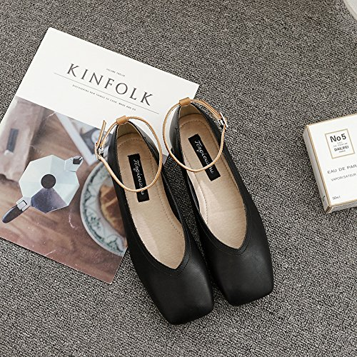 Xue Qiqi Qiqi Qiqi Court Schuhe Flach mit einzelnen Schuhen weibliche Flache Schuhe Wort Schnalle Vier Schuhe Wilde lässig niedrighackige Schuhe 37 schwarz f36e07