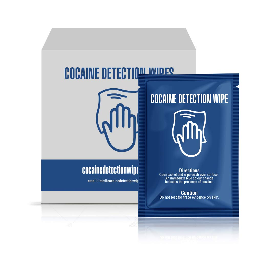 Cocaine Detection Wipes Pack of Sachets - Detect The Presumptive Presence of Cocaine on Any Surface by Swabbing The Area with Wipe Turning Blue Upon Contact with Drugs (50)