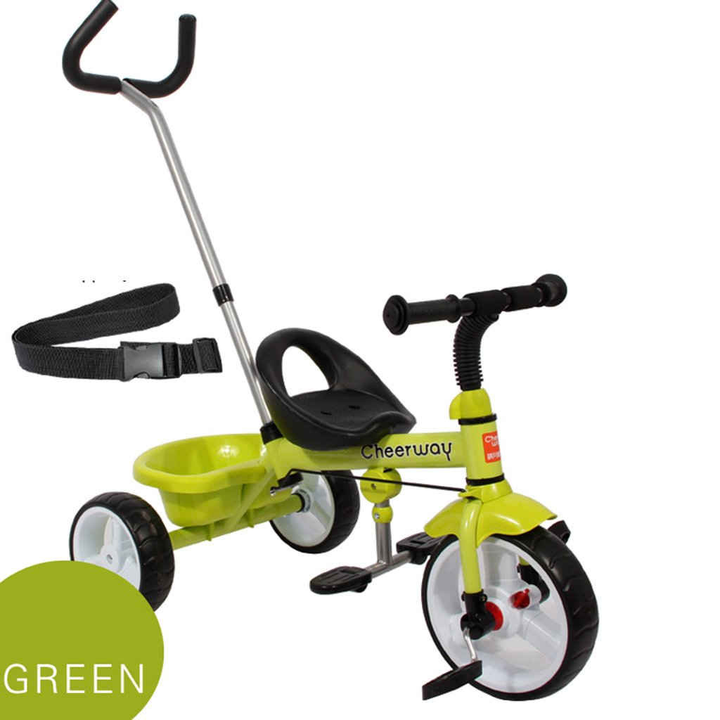 HAIZHEN マウンテンバイク 子供のトロリーカーボンスチールフレームフロントホイールクラッチプッシュロッドコントロール方向2-5歳の自転車トイカー75 * 48 * 110cm 新生児 B07DL5M483 緑 緑
