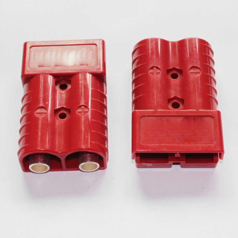 X-Haibei Pair Winch Quick Connect Battery Disconnect Trailer Plug Connector 350A 2/0 Gauge 4.2inchx2.7inchx1.1inch Connector (RED) by X-Haibei