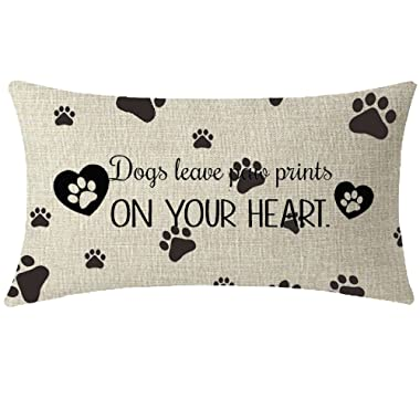 NIDITW Nice Animal Dog Lover Gift with Funny Words Dog Leave Paw Prints On Your Heart Waist Lumbar Throw Pillow case Cushion Cover Pillowcase for Sofa Home Decorative Rectangle 12 X 20