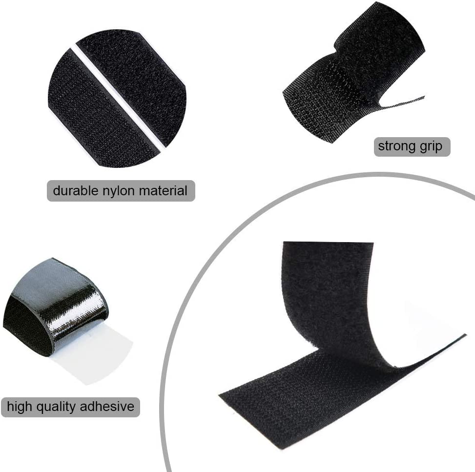 Heavy Duty Hook and Loop Tape with Adhesive Waterproof Sticky Strips Fastening Interlocking Tape 310cm 12Pcs Black
