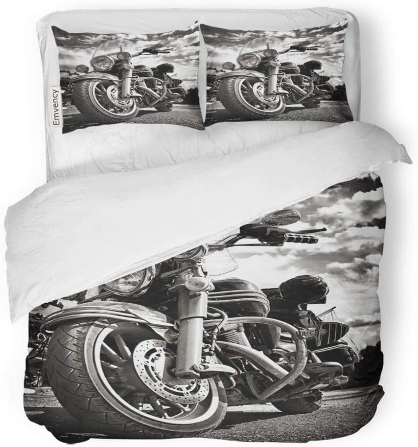 Emvency 3 Piece Duvet Cover Set Brushed Microfiber Fabric Breathable Freedom Motorbike Under Sky Vintage Effect Added for Create Atmosphere Bedding Set with 2 Pillow Covers Full/Queen Size
