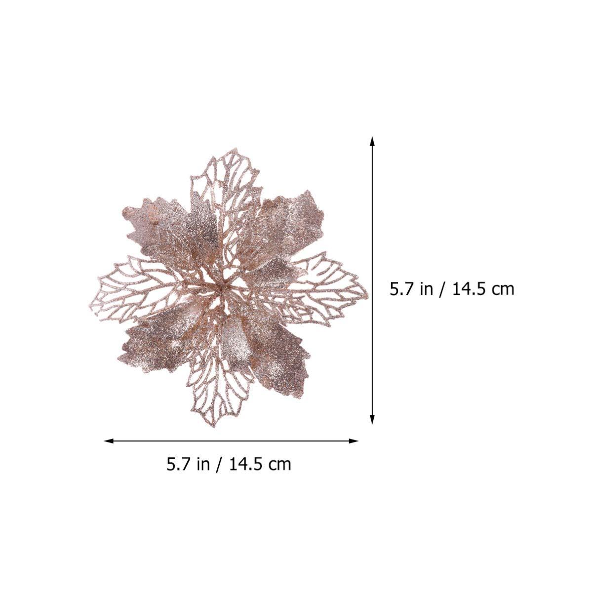 STOBOK 12pcs Christmas Poinsettias Flowers Glitter Poinsettias Christmas Tree Decorations Ornaments DIY Artificial Flowers Champagne