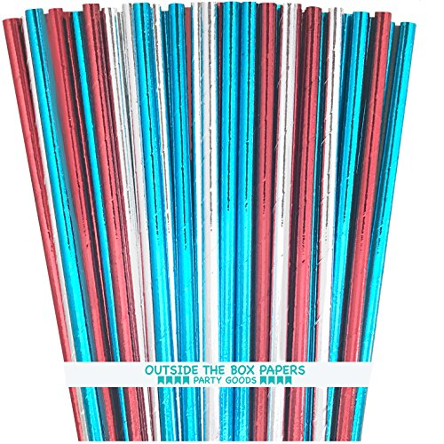 Patriotic Straw - Patriotic Foil Paper Straws - Red Blue Silver - 7.75 Inches - 75 Pack