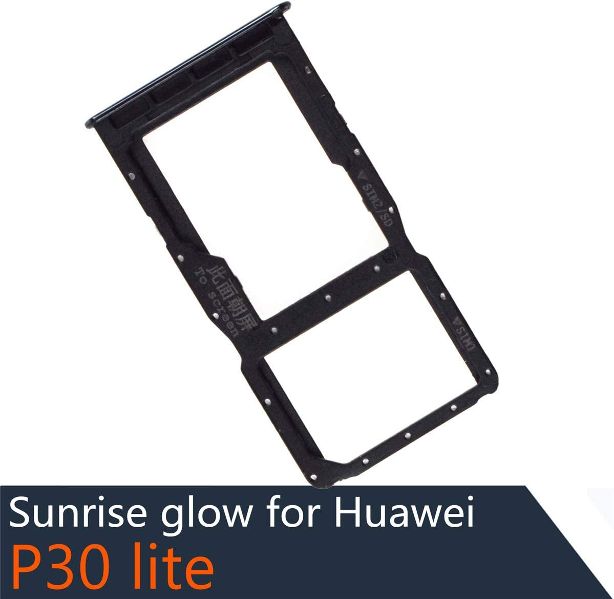Dual SIM Card Tray + Micro SD Card Slot Compatible with Huawei P30 lite Bright Black