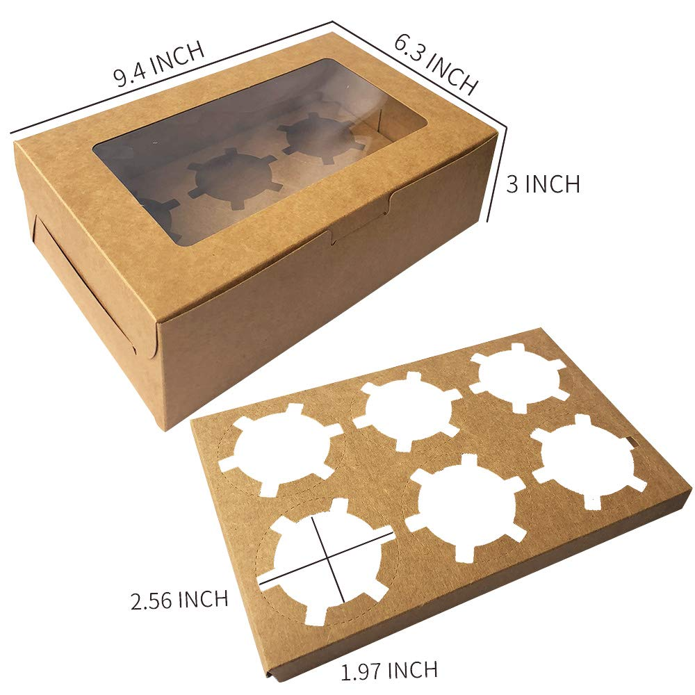 30-Set Cupcake Boxes with Inserts and Window Fits 6 Cupcakes, 9.4'' x 6.3'' x 3'', Brown Food Grade Kraft Cookie Gift Boxes, Treat Boxes for Cookies, Bakeries, Muffins and Pastries by Aglahome (Image #3)