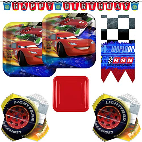 Disney Cars Lightning McQueen Party Supply Bundle - Serves 16 Guests - With Plates, Napkins, Table Cover, Happy Birthday Banner -