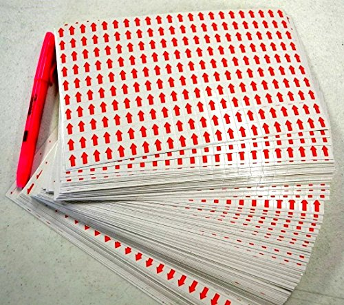 Red Small Arrow Self Adhesive Sticker Labels 1/2