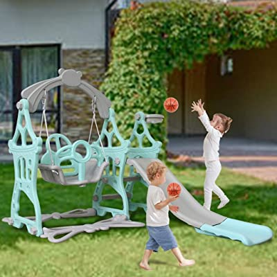 Toddler Climber and Swing Set, 3 in 1 Kids Play Climber Freestanding Slides Playset Indoor Outdoor Playground Toy with Basketball Hoops Activity Center in Backyard (Blue, for: 3-9 Years Old): Home & Kitchen