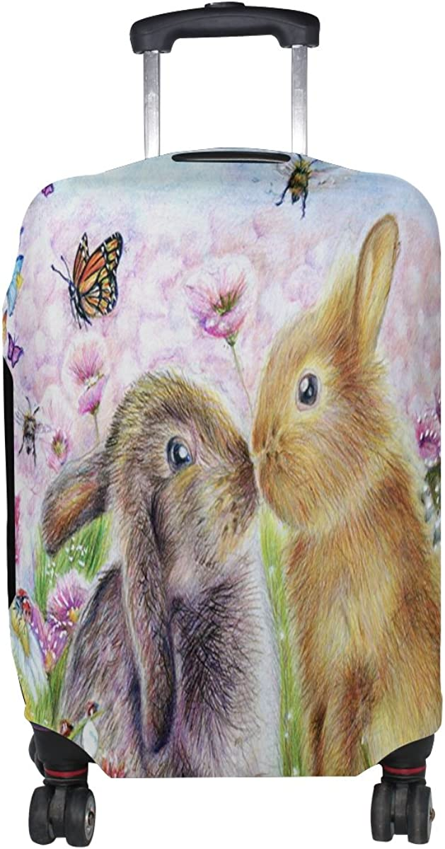 LAVOVO Rabbit Bunny Butterfly Painting Luggage Cover Suitcase Protector Carry On Covers