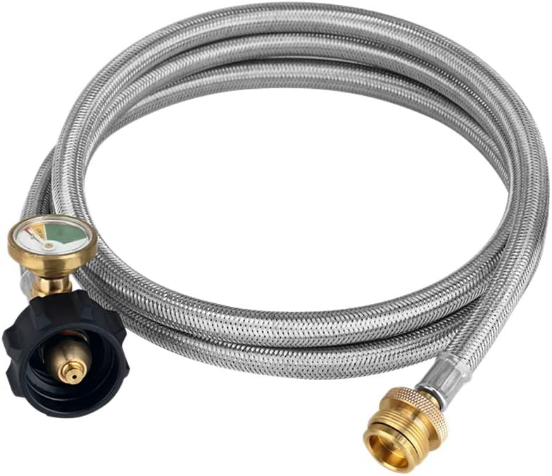 Camplux 6FT Propane Convert Hose Stainless Braided 1 lb to 5-20 lb with Gauge, Propane Converter Hose for Propane Stove