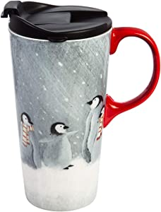 Cypress Home Beautiful Winter Penguins Ceramic Travel Cup with Matching Box - 4 x 5 x 7 Inches Indoor/Outdoor home goods For Kitchens, Parties and Homes