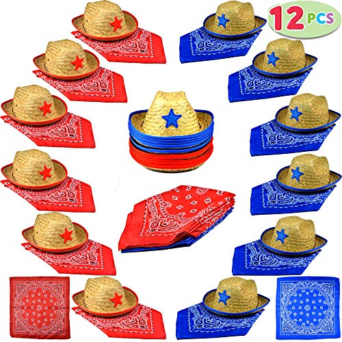 Joyin Toy Pack of 12 Childs Straw Cowboy Hats with Cowboy Bandannas (6 Red & 6 Blue) Party Favors ()