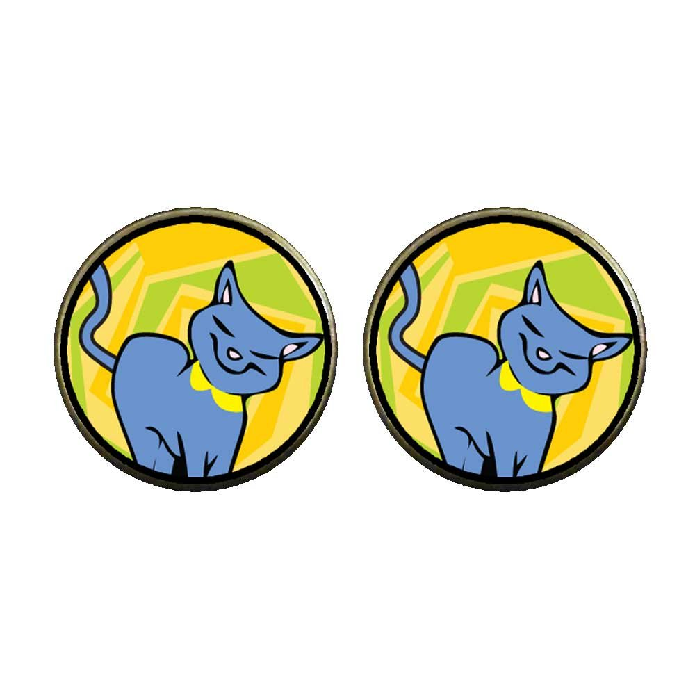 GiftJewelryShop Bronze Retro Style Russian Blue Cat Photo Clip On Earrings 14mm Diameter