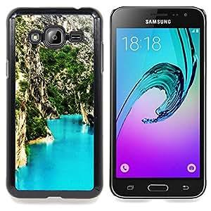 "Qstar Arte & diseño plástico duro Fundas Cover Cubre Hard Case Cover para Samsung Galaxy J3(2016) J320F J320P J320M J320Y (Blue Lagoon Montaña"")"