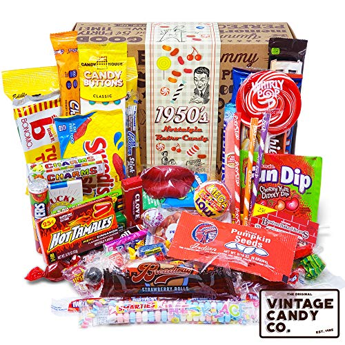 VINTAGE CANDY CO. 1950's RETRO CANDY GIFT BOX - 50s Nostalgia Candies - Throwback FIFTIES Fun Gag Gift Basket - PERFECT '50s Candies For Adults, College Students, Men or Women, Kids, Teens (Retro Candy Box)