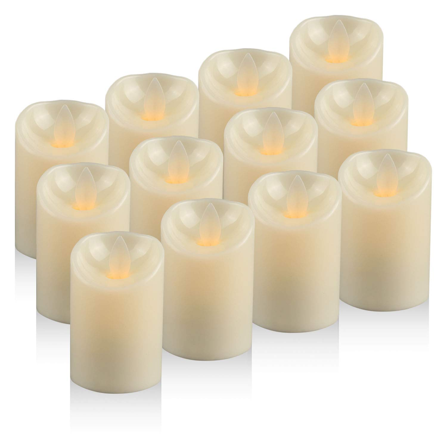 Unscented Realistic Tealight Candles in Warm White Pack of 12 Battery Operated Flickering Electric Candles D:2 X H:3 Moving Wick LED Candles Tea Light
