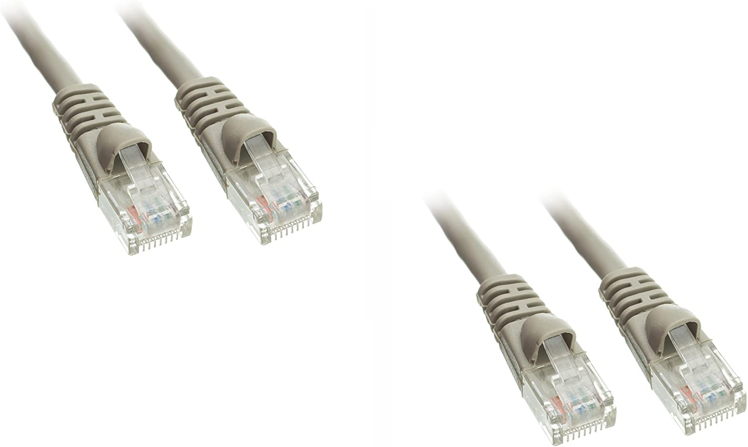 2 Pack eDragon Cat5e Ethernet Patch Cable with Snagless//Molded Boot, Gray, 1 Feet//0.3 Meters
