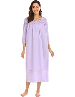 Ekouaer Womens Sleepwear Victorian Sleepshirts Long Sleep Wear Dress Cotton  Nightgown S-XXL 288bc2ecc