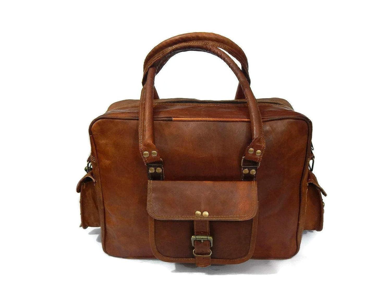 "Fastyl Handmade Treakie 15""Brown Mens Women Vintage Genuine Leather Messenger Sports Gym Weekend Bag Suitcase Briefcase hot sale"