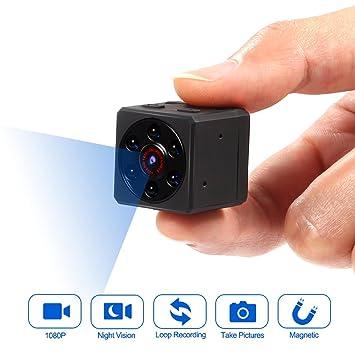 Mini cámara, cámara espía, cámara de deportes DV HD 1080P cámara de vídeo portátil minúscula con visión nocturna por infrarrojos ...