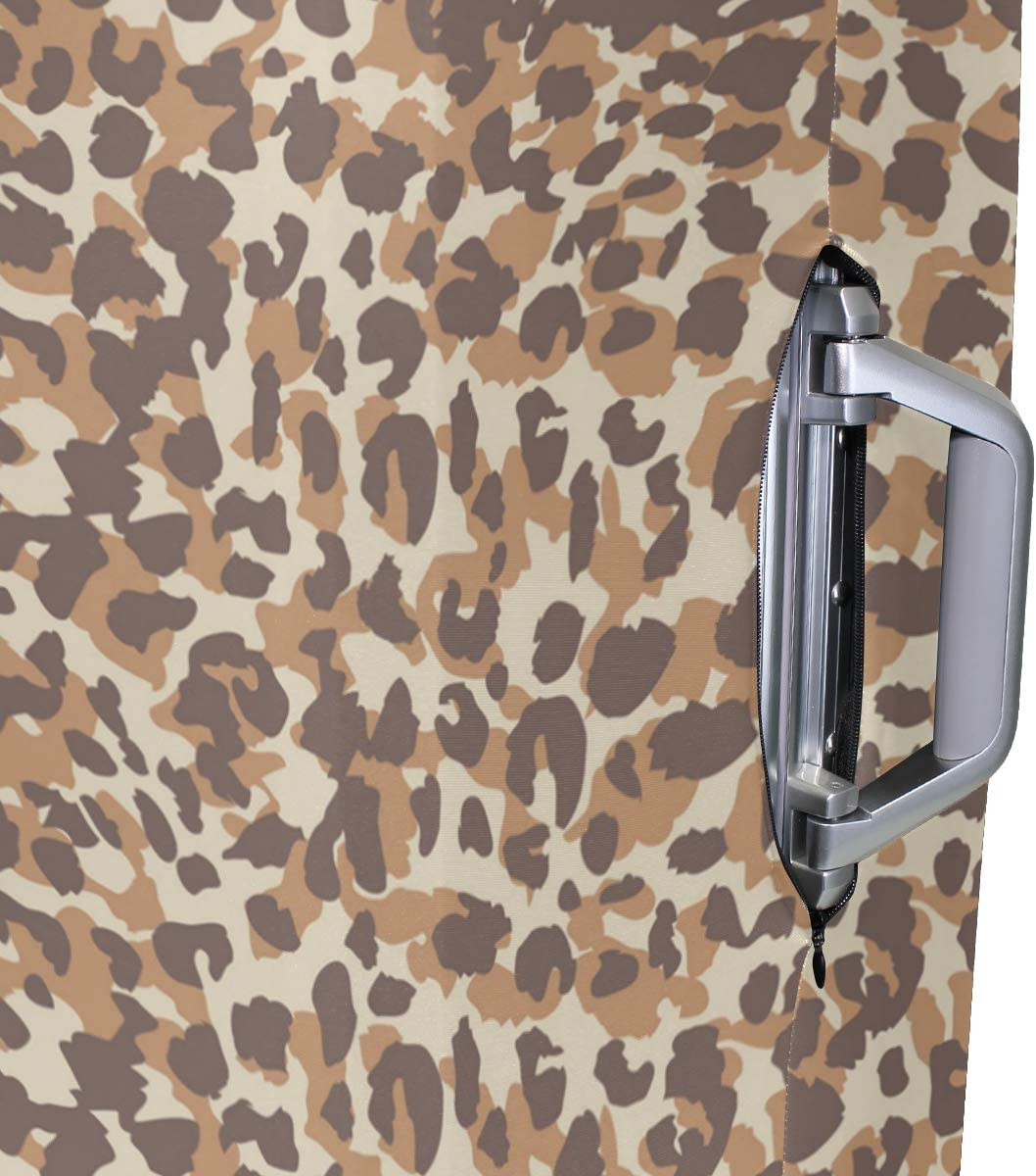 Brown Leopard Print Fabric Traveler Lightweight Rotating Luggage Protector Case Can Carry With You Can Expand Travel Bag Trolley Rolling Luggage Protector Case
